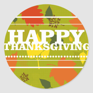 Happy Thanksgiving Colored Leaves Sticker Seal