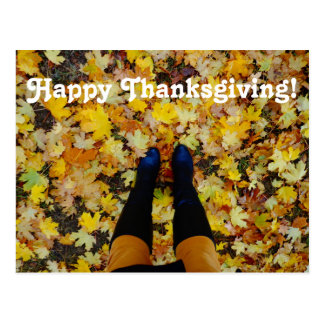 Happy Thanksgiving Colorful Autumn Postcard