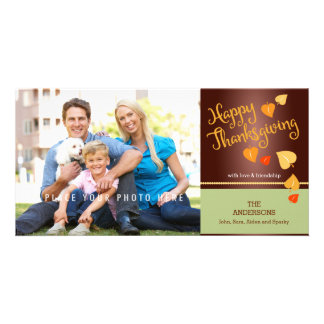 Happy Thanksgiving, Colorful Fall Leaves Customized Photo Card
