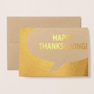Happy Thanksgiving Comic Bubble Gold Foil Foil Card