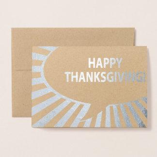 Happy Thanksgiving Comic Bubble Silver Foil Foil Card