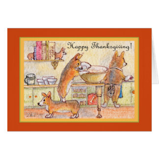 Happy Thanksgiving, corgi family baking Card