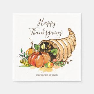 Happy Thanksgiving Cornucopia Fall Harvest Custom Paper Napkins