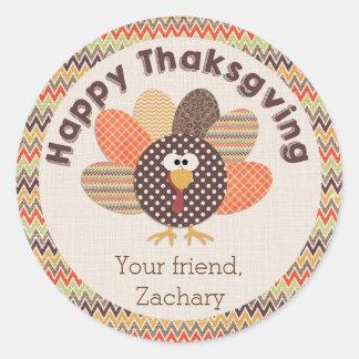 Happy Thanksgiving Cute Personalize Turkey Sticker