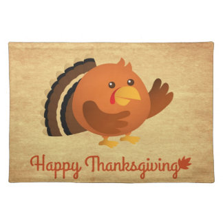 Happy Thanksgiving, Cute Round Turkey Placemat