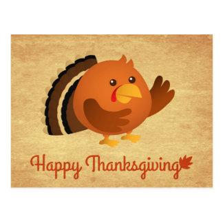 Happy Thanksgiving, Cute Round Turkey Postcard