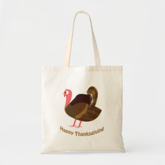Happy Thanksgiving Cute Turkey Canvas Bags