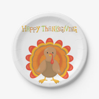 Happy Thanksgiving Day 7 Inch Paper Plate