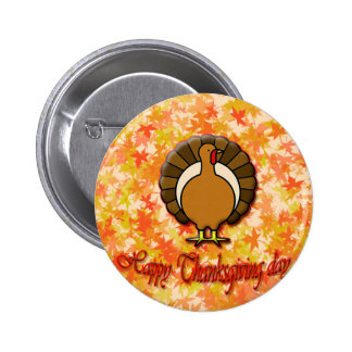 Happy Thanksgiving day button. 6 Cm Round Badge