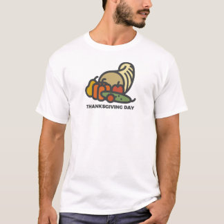 Happy Thanksgiving Day Cornucopia Design T-Shirt