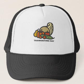 Happy Thanksgiving Day Cornucopia Design Trucker Hat