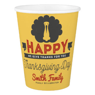 Happy Thanksgiving Day Family Celebration Paper Cup