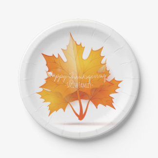 Happy Thanksgiving Day Family Dinner Celebration Paper Plate