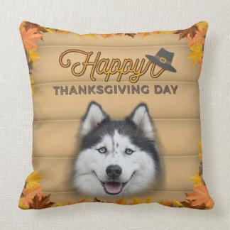 Happy Thanksgiving Day Husky Cushion