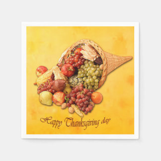 Happy Thanksgiving day paper napkins. Disposable Napkins