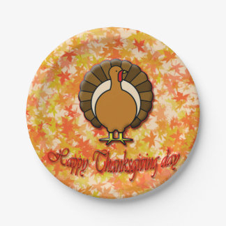 Happy Thanksgiving day paper plates. 7 Inch Paper Plate