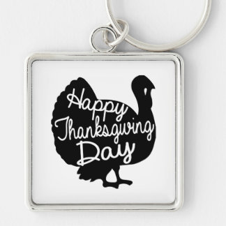 Happy Thanksgiving Day Silver-Colored Square Key Ring