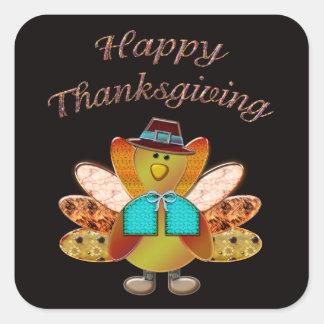 Happy Thanksgiving Designer Pilgrim Turkey Square Sticker