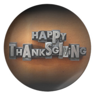 Happy Thanksgiving Dinner Plate