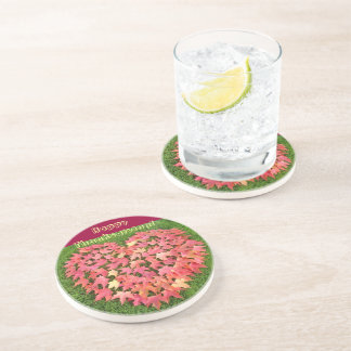 Happy Thanksgiving! Drink Coasters Autumn Leaves
