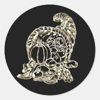 Happy Thanksgiving Elegant Golden Cornucopia Classic Round Sticker