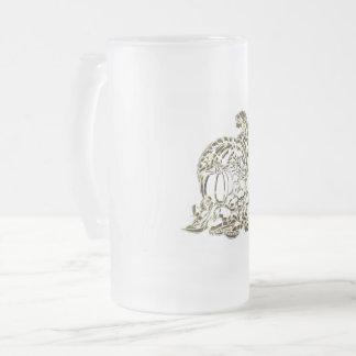 Happy Thanksgiving Elegant Golden Cornucopia Frosted Glass Beer Mug
