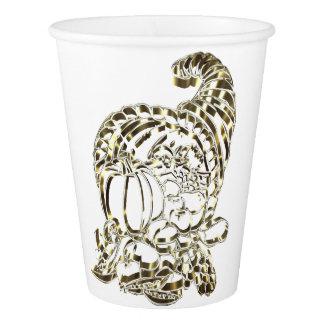 Happy Thanksgiving Elegant Golden Cornucopia Paper Cup