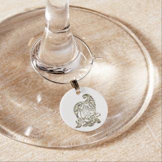 Happy Thanksgiving Elegant Golden Cornucopia Wine Charm