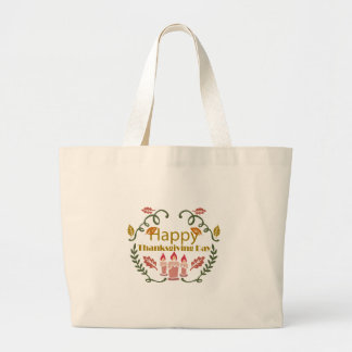 Happy Thanksgiving Fall Festival Large Tote Bag