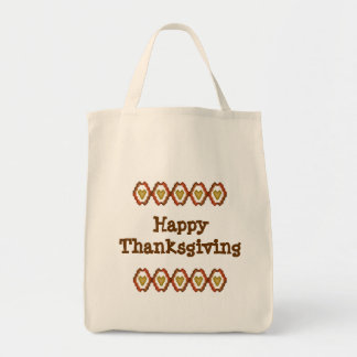 Happy Thanksgiving Fall Hearts Tote Bag
