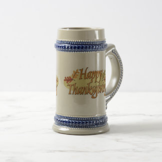 Happy Thanksgiving Fall Leaves Beer Stein
