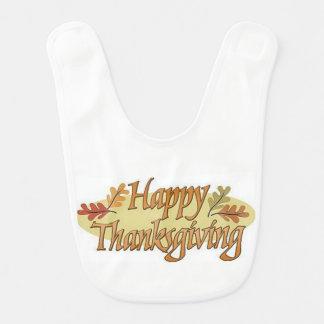 Happy Thanksgiving Fall Leaves Bib