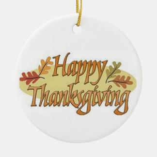 Happy Thanksgiving Fall Leaves Ceramic Ornament