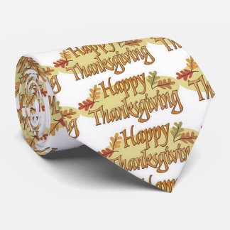 Happy Thanksgiving Fall Leaves Tie