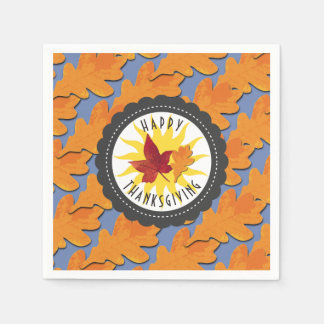 Happy Thanksgiving Fall Oak Leaf Disposable Serviette