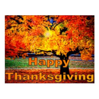 Happy Thanksgiving Fall Postcard