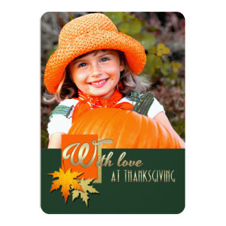 Happy Thanksgiving. Falling Leaves Photo Cards Invitation