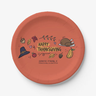 Happy Thanksgiving Family Celebration. 7 Inch Paper Plate