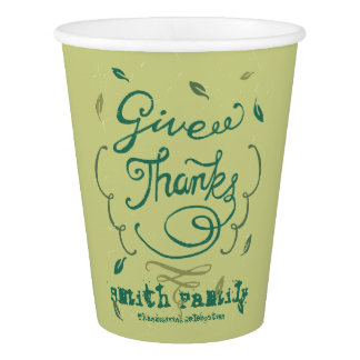 Happy Thanksgiving Family Celebration. Paper Cup