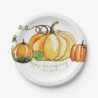 Happy Thanksgiving Family Celebration. Paper Plate