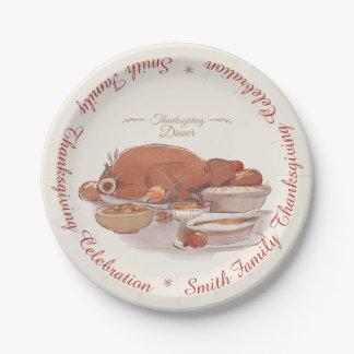Happy Thanksgiving Family Dinner Celebration. Paper Plate