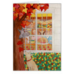Happy Thanksgiving Family Meal Scene Greeting Card