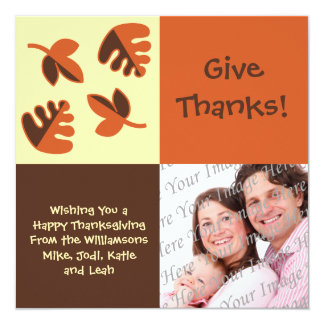 "Happy Thanksgiving Flat Photo Greeting Card 5.25"" Square Invitation Card"