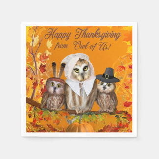 HAPPY THANKSGIVING FROM OWL OF US! DISPOSABLE SERVIETTES