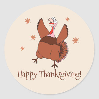 Happy Thanksgiving Funny Turkey Classic Round Sticker