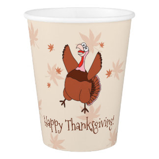 Happy Thanksgiving Funny Turkey Paper Cup