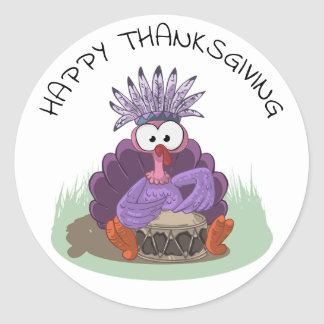 Happy Thanksgiving Funny Turkey playing drums Classic Round Sticker
