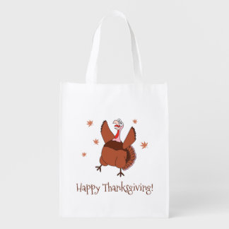 Happy Thanksgiving Funny Turkey Reusable Grocery Bag