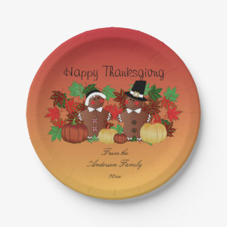 Happy Thanksgiving Gingerbread Pilgrims 7 Inch Paper Plate