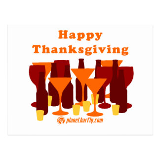 Happy Thanksgiving Glasses Postcard